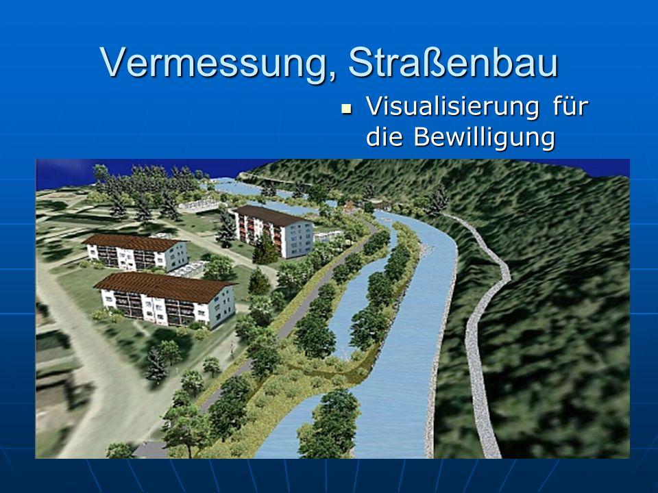 Vermessung, Straßenbau Visualisierung für die Bewilligung Visualisierung für die Bewilligung