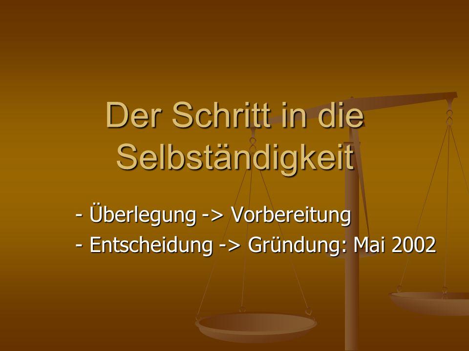 Der Schritt in die Selbständigkeit - Überlegung -> Vorbereitung - Entscheidung -> Gründung: Mai 2002