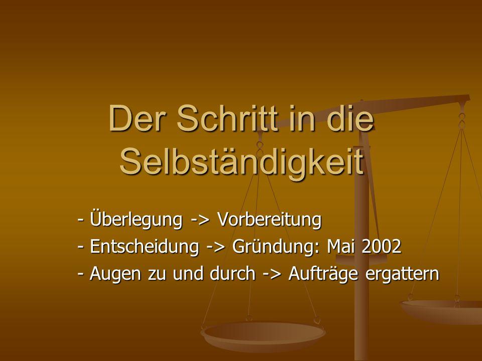 Der Schritt in die Selbständigkeit - Überlegung -> Vorbereitung - Entscheidung -> Gründung: Mai 2002 - Augen zu und durch -> Aufträge ergattern
