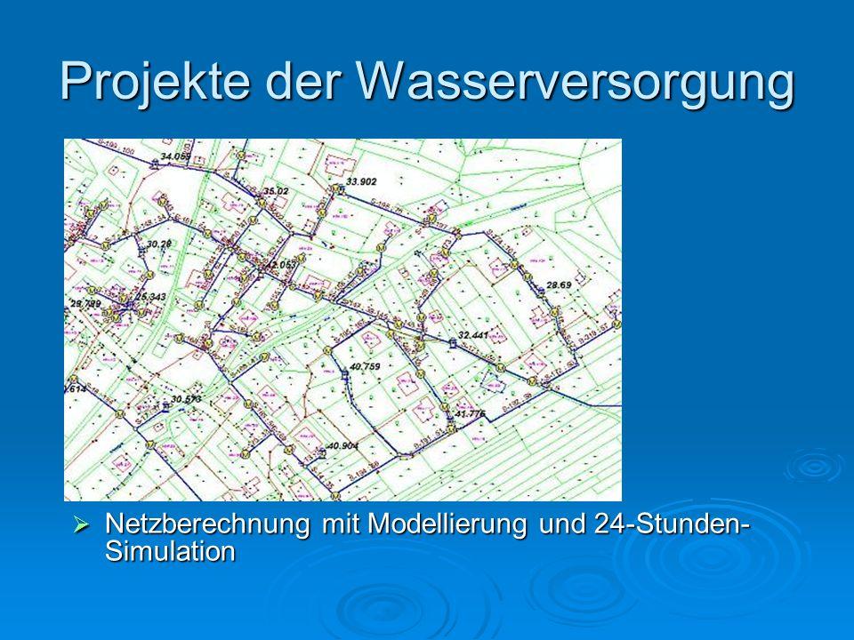 Projekte der Wasserversorgung Netzberechnung mit Modellierung und 24-Stunden- Simulation Netzberechnung mit Modellierung und 24-Stunden- Simulation