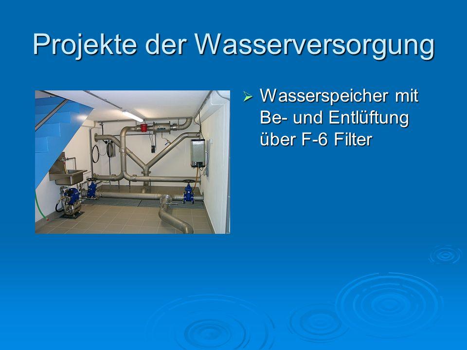 Projekte der Wasserversorgung Wasserspeicher mit Be- und Entlüftung über F-6 Filter Wasserspeicher mit Be- und Entlüftung über F-6 Filter