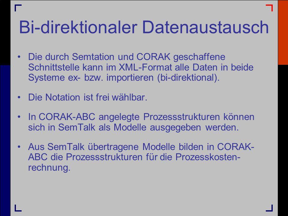 Bi-direktionaler Datenaustausch Die durch Semtation und CORAK geschaffene Schnittstelle kann im XML-Format alle Daten in beide Systeme ex- bzw. import