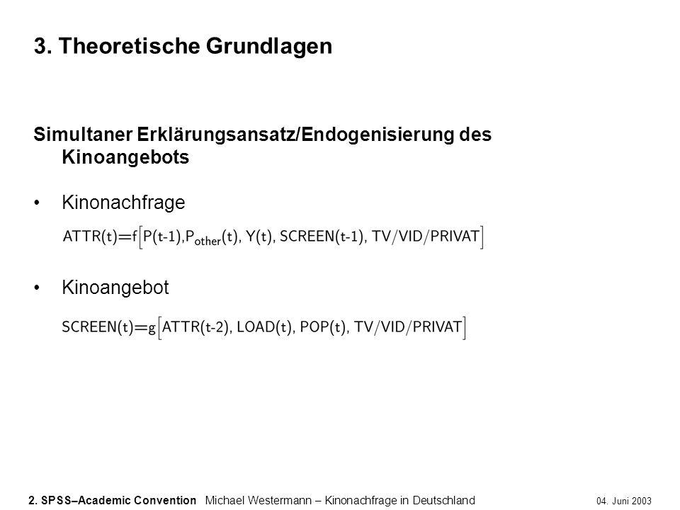 2. SPSS–Academic ConventionMichael Westermann – Kinonachfrage in Deutschland 04. Juni 2003 3. Theoretische Grundlagen Simultaner Erklärungsansatz/Endo