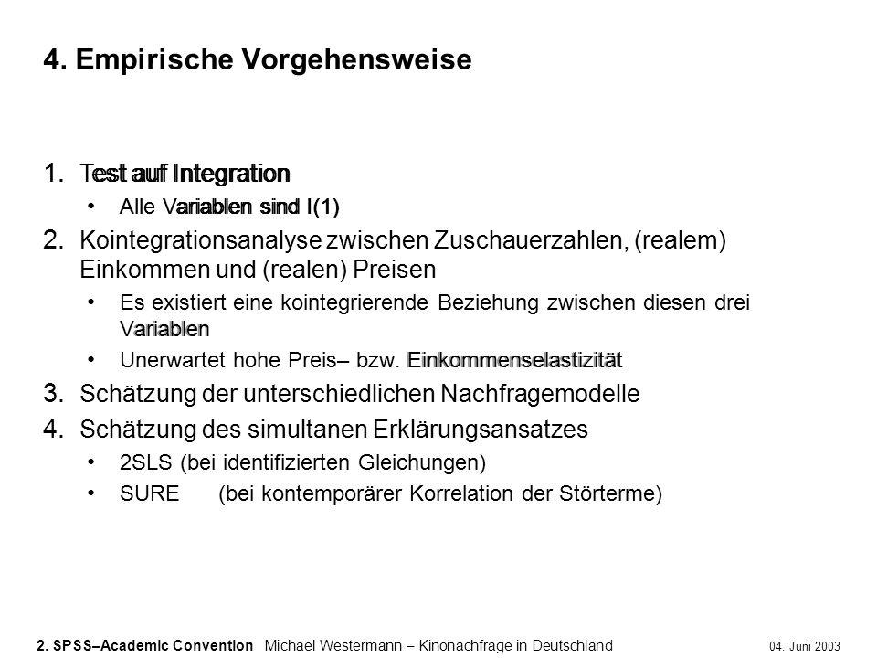 2. SPSS–Academic ConventionMichael Westermann – Kinonachfrage in Deutschland 04. Juni 2003 1. Test auf Integration Alle Variablen sind I(1) 2. Kointeg