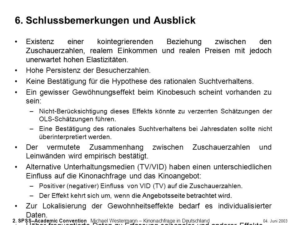 2. SPSS–Academic ConventionMichael Westermann – Kinonachfrage in Deutschland 04. Juni 2003 Existenz einer kointegrierenden Beziehung zwischen den Zusc