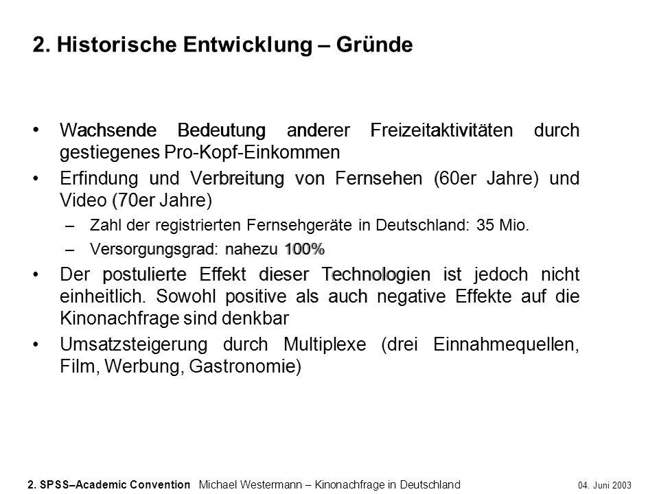 2. SPSS–Academic ConventionMichael Westermann – Kinonachfrage in Deutschland 04. Juni 2003 Wachsende Bedeutung anderer Freizeitaktivitäten durch gesti