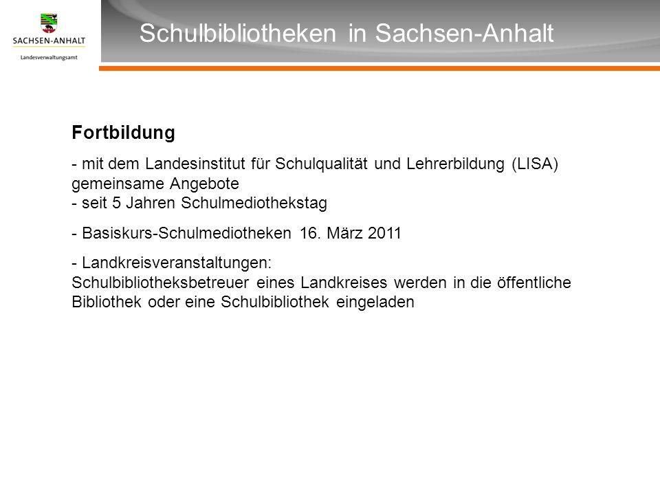Überschrift Unterüberschrift Schulbibliotheken in Sachsen-Anhalt Fortbildung - mit dem Landesinstitut für Schulqualität und Lehrerbildung (LISA) gemei