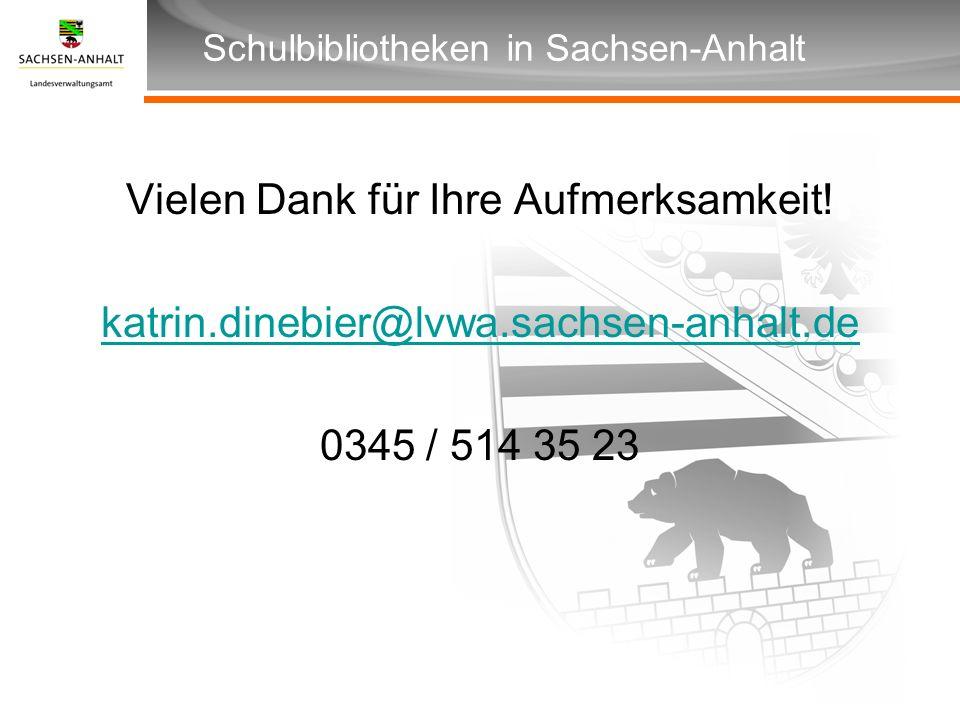 Überschrift Unterüberschrift Schulbibliotheken in Sachsen-Anhalt Vielen Dank für Ihre Aufmerksamkeit! katrin.dinebier@lvwa.sachsen-anhalt.de 0345 / 51