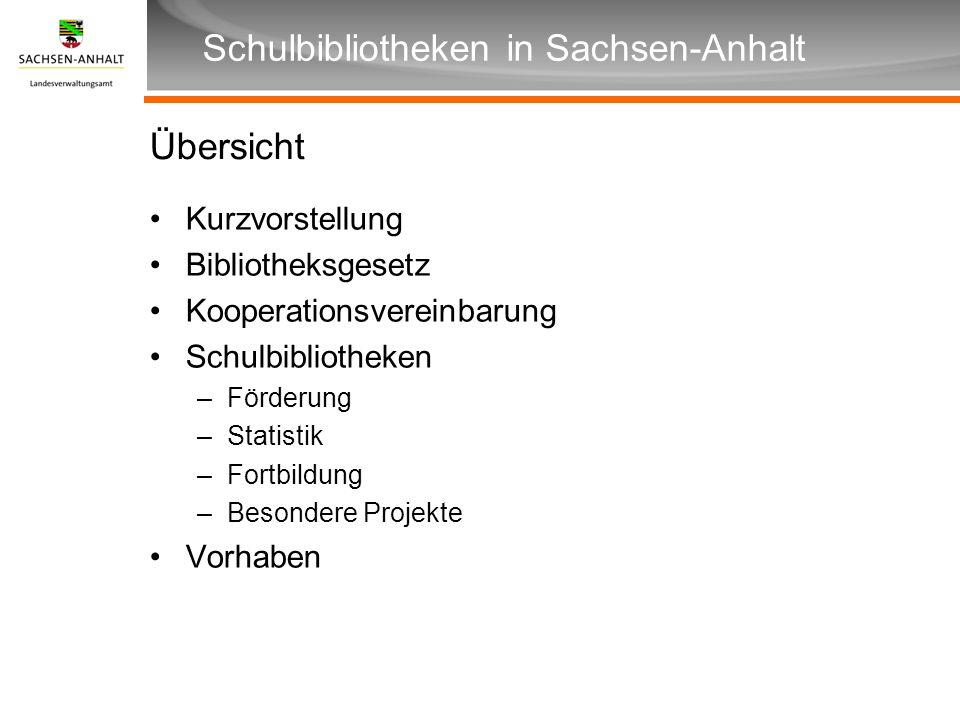 Überschrift Unterüberschrift Schulbibliotheken in Sachsen-Anhalt Übersicht Kurzvorstellung Bibliotheksgesetz Kooperationsvereinbarung Schulbibliotheke
