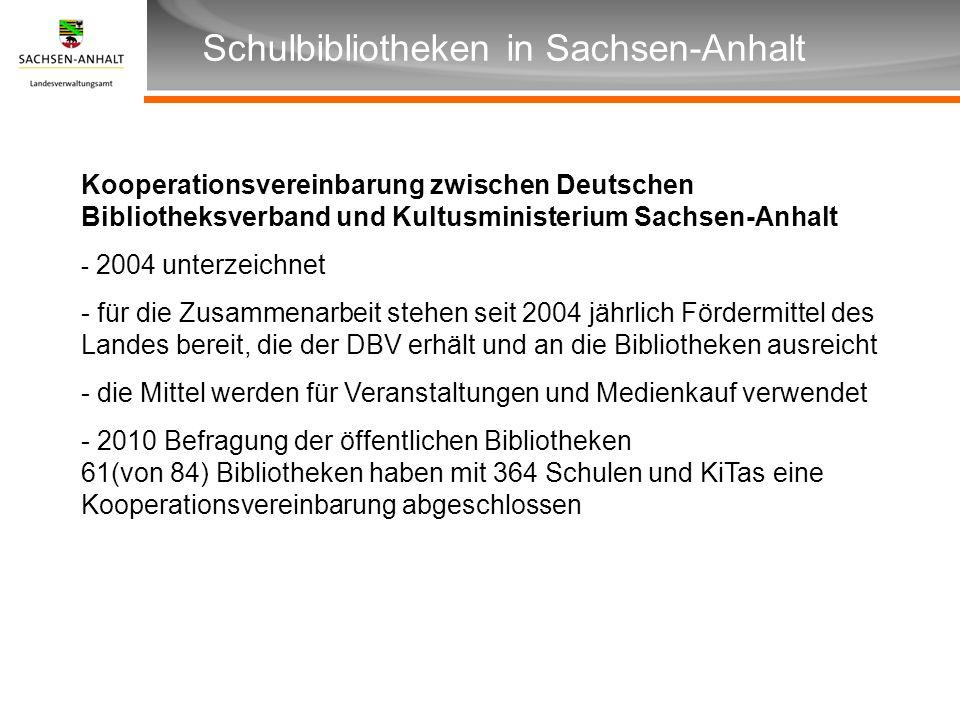 Überschrift Unterüberschrift Schulbibliotheken in Sachsen-Anhalt Kooperationsvereinbarung zwischen Deutschen Bibliotheksverband und Kultusministerium