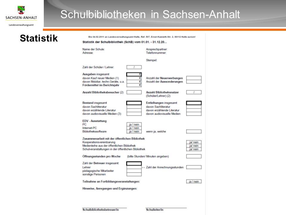 Überschrift Unterüberschrift Schulbibliotheken in Sachsen-Anhalt Statistik
