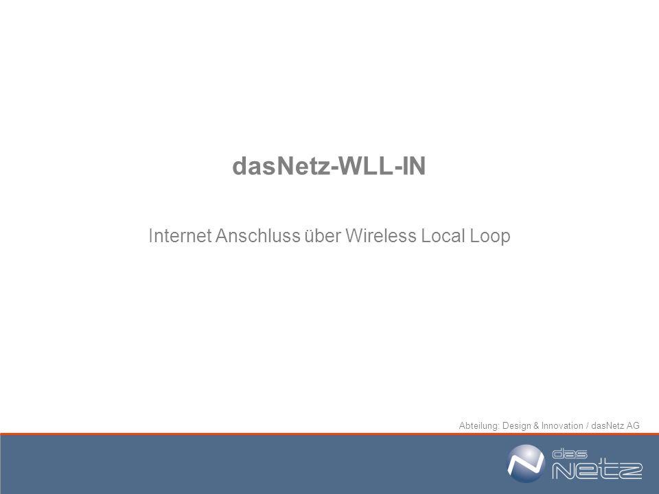 Abteilung: Design & Innovation / dasNetz AG dasNetz-WLL-IN Internet Anschluss über Wireless Local Loop
