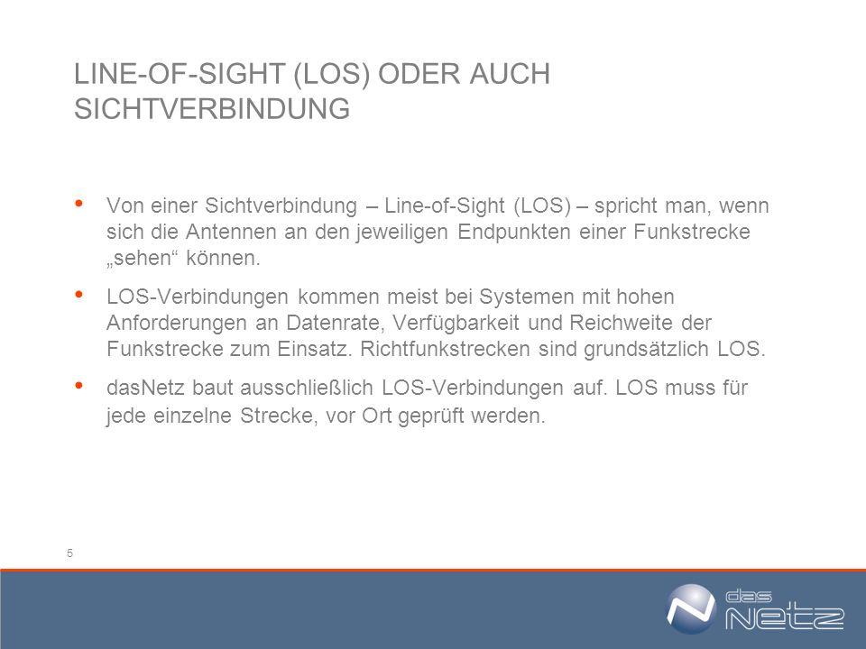 5 LINE-OF-SIGHT (LOS) ODER AUCH SICHTVERBINDUNG Von einer Sichtverbindung – Line-of-Sight (LOS) – spricht man, wenn sich die Antennen an den jeweilige