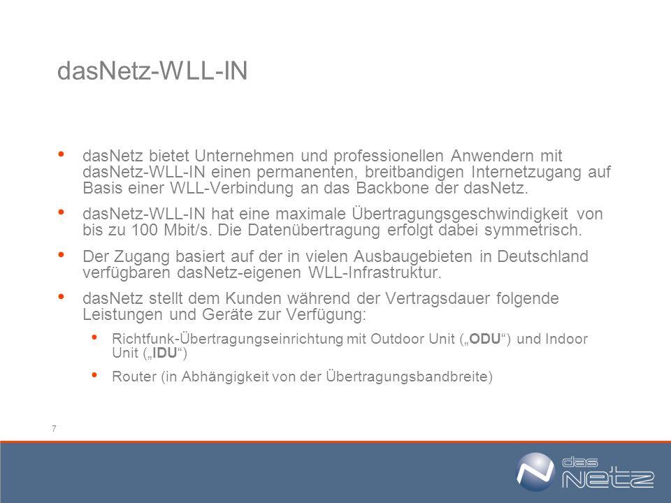 7 dasNetz-WLL-IN dasNetz bietet Unternehmen und professionellen Anwendern mit dasNetz-WLL-IN einen permanenten, breitbandigen Internetzugang auf Basis
