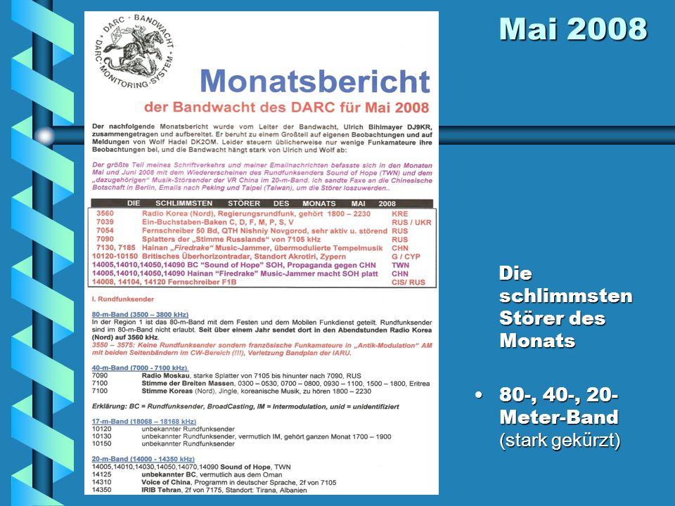 Mai 2008 Mai 2008 Die schlimmsten Störer des Monats 80-, 40-, 20- Meter-Band (stark gekürzt)