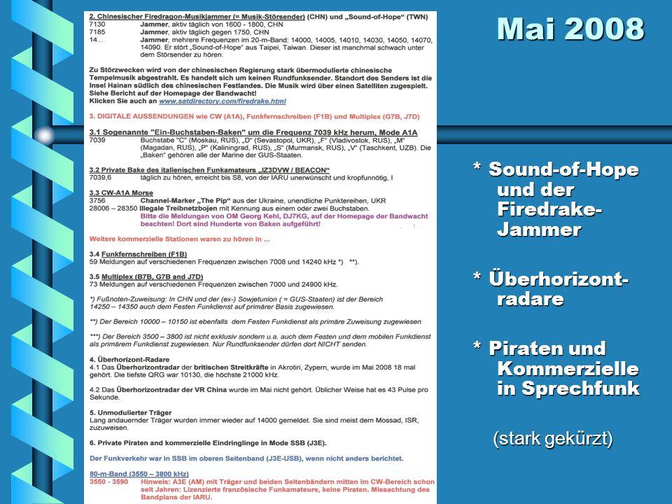 Mai 2008 Mai 2008 * Sound-of-Hope und der Firedrake- Jammer * Überhorizont- radare * Piraten und Kommerzielle in Sprechfunk (stark gekürzt)