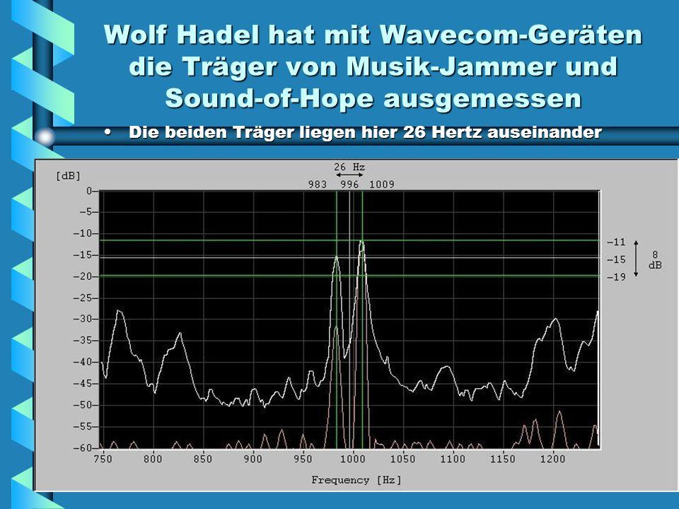 Wolf Hadel hat mit Wavecom-Geräten die Träger von Musik-Jammer und Sound-of-Hope ausgemessen Die beiden Träger liegen hier 26 Hertz auseinander