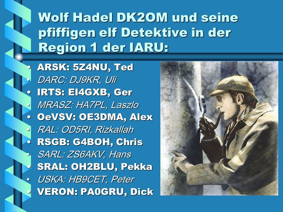 Wolf Hadel DK2OM und seine pfiffigen elf Detektive in der Region 1 der IARU: ARSK: 5Z4NU, Ted DARC: DJ9KR, Uli IRTS: EI4GXB, Ger MRASZ: HA7PL, Laszlo