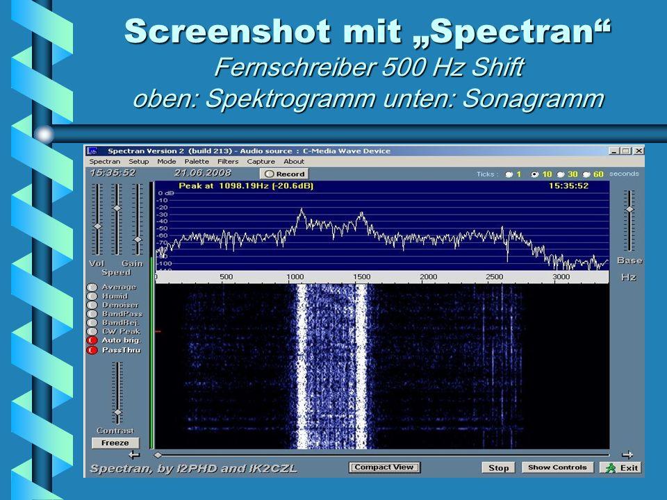 Screenshot mit Spectran Fernschreiber 500 Hz Shift oben: Spektrogramm unten: Sonagramm