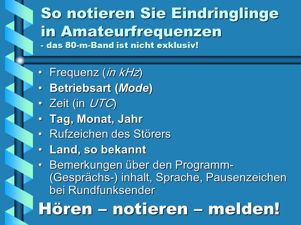 Wolf Hadel DK2OM und seine pfiffigen elf Detektive in der Region 1 der IARU: ARSK: 5Z4NU, Ted DARC: DJ9KR, Uli IRTS: EI4GXB, Ger MRASZ: HA7PL, Laszlo OeVSV: OE3DMA, Alex RAL: OD5RI, Rizkallah RSGB: G4BOH, Chris SARL: ZS6AKV, Hans SRAL: OH2BLU, Pekka USKA: HB9CET, Peter VERON: PA0GRU, Dick