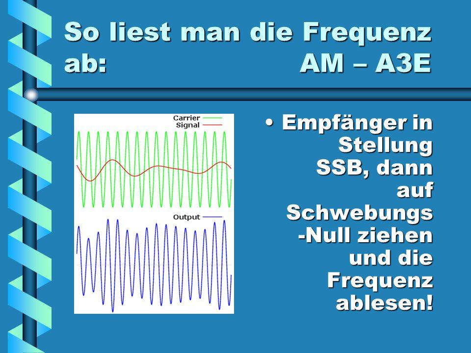 So liest man die Frequenz ab: AM – A3E Empfänger in Stellung SSB, dann auf Schwebungs -Null ziehen und die Frequenz ablesen!
