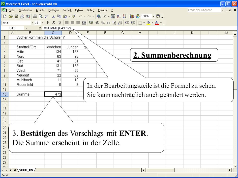3. Bestätigen des Vorschlags mit ENTER. Die Summe erscheint in der Zelle. 2. Summenberechnung In der Bearbeitungszeile ist die Formel zu sehen. Sie ka