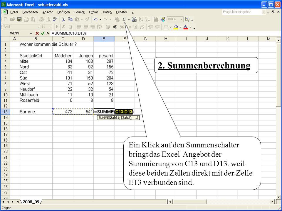 Ein Klick auf den Summenschalter bringt das Excel-Angebot der Summierung von C13 und D13, weil diese beiden Zellen direkt mit der Zelle E13 verbunden
