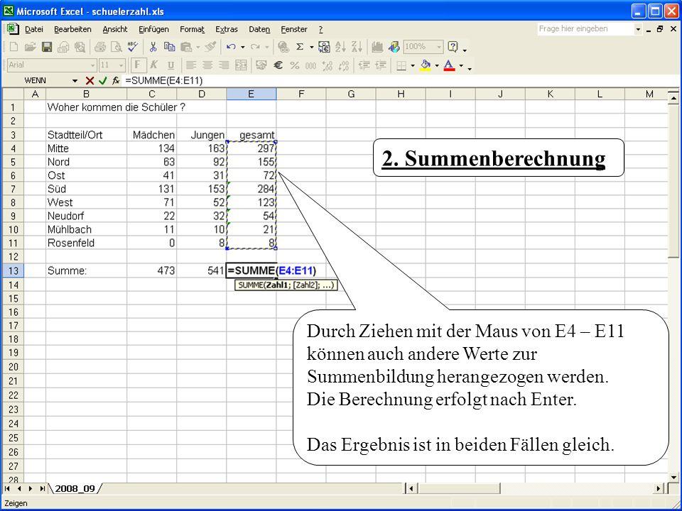 Durch Ziehen mit der Maus von E4 – E11 können auch andere Werte zur Summenbildung herangezogen werden. Die Berechnung erfolgt nach Enter. Das Ergebnis