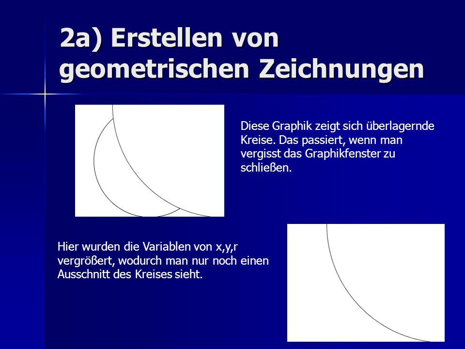 2a) Erstellen von geometrischen Zeichnungen Diese Graphik zeigt sich überlagernde Kreise. Das passiert, wenn man vergisst das Graphikfenster zu schlie