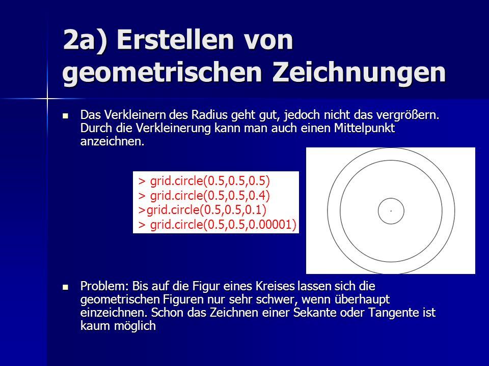 2a) Erstellen von geometrischen Zeichnungen Das Verkleinern des Radius geht gut, jedoch nicht das vergrößern. Durch die Verkleinerung kann man auch ei