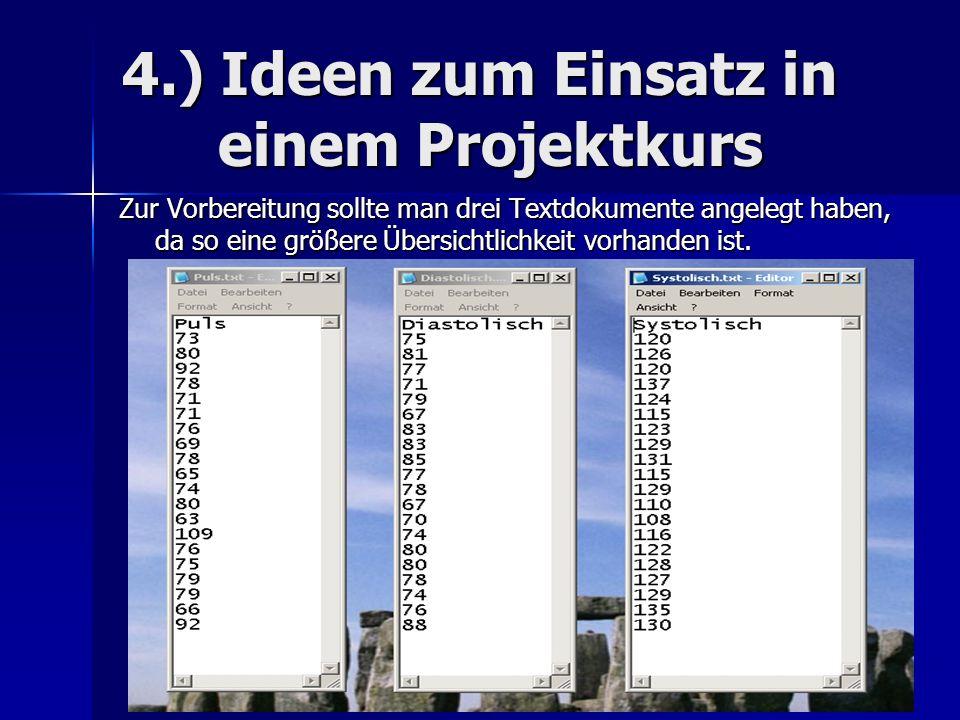 4.) Ideen zum Einsatz in einem Projektkurs Zur Vorbereitung sollte man drei Textdokumente angelegt haben, da so eine größere Übersichtlichkeit vorhanden ist.