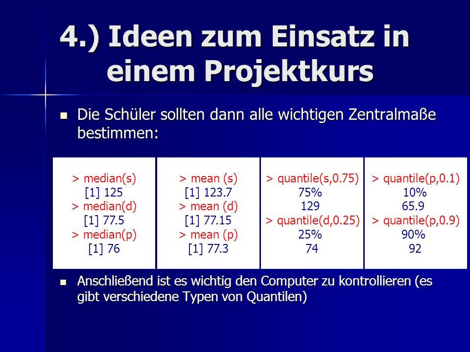 4.) Ideen zum Einsatz in einem Projektkurs Die Schüler sollten dann alle wichtigen Zentralmaße bestimmen: Die Schüler sollten dann alle wichtigen Zentralmaße bestimmen: Anschließend ist es wichtig den Computer zu kontrollieren (es gibt verschiedene Typen von Quantilen) Anschließend ist es wichtig den Computer zu kontrollieren (es gibt verschiedene Typen von Quantilen) > median(s) [1] 125 > median(d) [1] 77.5 > median(p) [1] 76 > mean (s) [1] 123.7 > mean (d) [1] 77.15 > mean (p) [1] 77.3 > quantile(s,0.75) 75% 129 > quantile(d,0.25) 25% 74 > quantile(p,0.1) 10% 65.9 > quantile(p,0.9) 90% 92