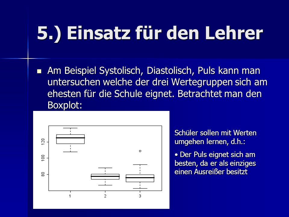 5.) Einsatz für den Lehrer Am Beispiel Systolisch, Diastolisch, Puls kann man untersuchen welche der drei Wertegruppen sich am ehesten für die Schule eignet.