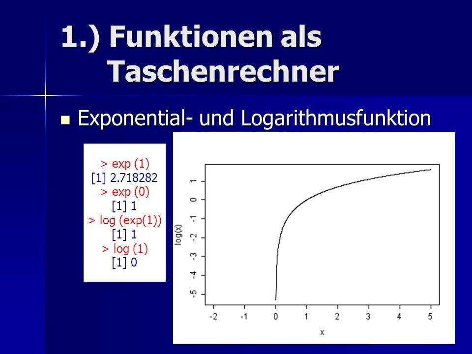 1.) Funktionen als Taschenrechner Exponential- und Logarithmusfunktion Exponential- und Logarithmusfunktion > exp (1) [1] 2.718282 > exp (0) [1] 1 > log (exp(1)) [1] 1 > log (1) [1] 0