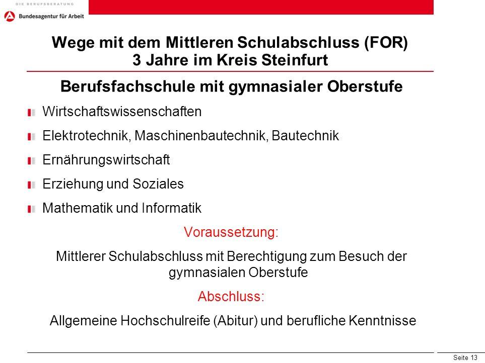 Seite 13 Wege mit dem Mittleren Schulabschluss (FOR) 3 Jahre im Kreis Steinfurt Berufsfachschule mit gymnasialer Oberstufe Wirtschaftswissenschaften E