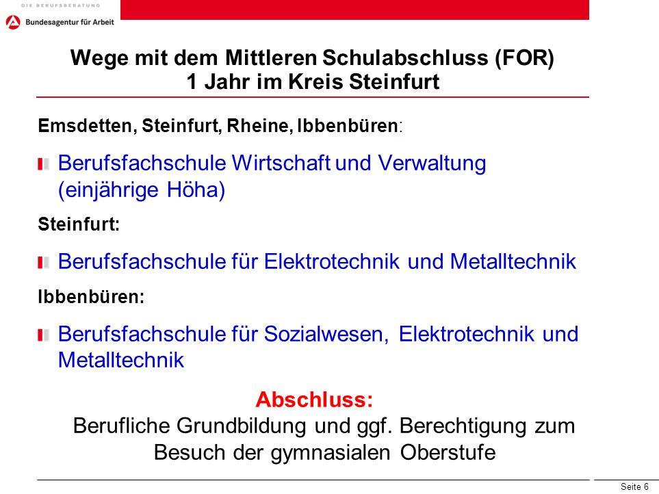 Seite 6 Wege mit dem Mittleren Schulabschluss (FOR) 1 Jahr im Kreis Steinfurt Emsdetten, Steinfurt, Rheine, Ibbenbüren: Berufsfachschule Wirtschaft un