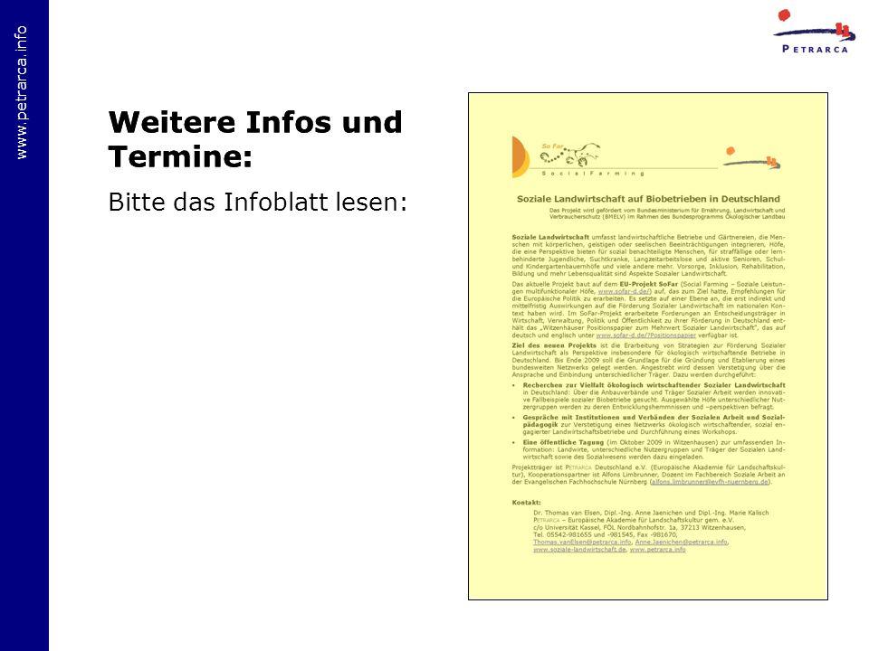 www.petrarca.info Weitere Infos und Termine: Bitte das Infoblatt lesen: