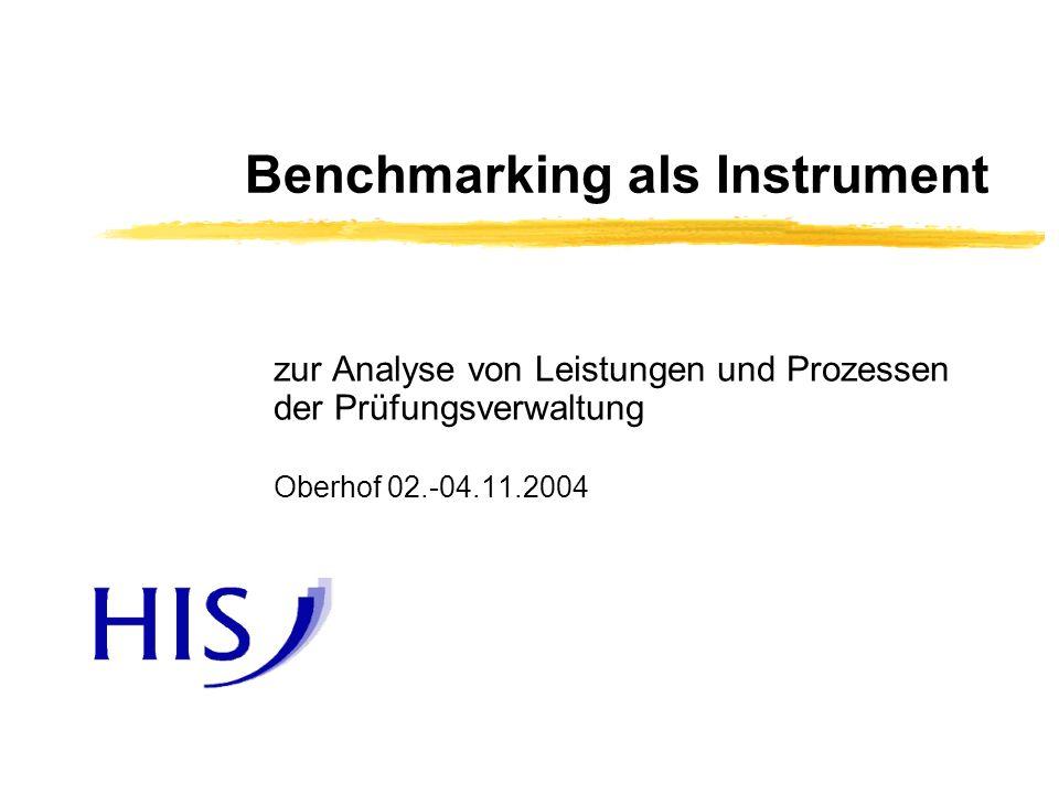 Benchmarking in der Prüfungsverwaltung02.-04.11.2004 2 Benchmarking ist… …das Durchführen von Vergleichen mit anderen Organisationen und das anschließende Lernen aus den Erkenntnissen, die aus diesen Vergleichen resultieren …mit Methode über den Zaun schauen oder Kiebitzen auf Gegenseitigkeit