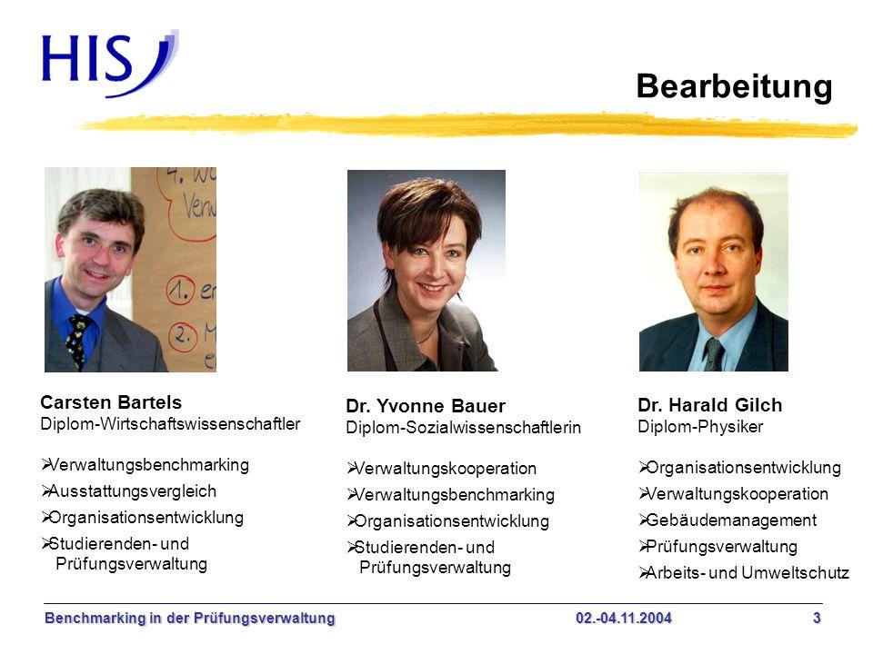 Benchmarking in der Prüfungsverwaltung02.-04.11.2004 3 Bearbeitung Carsten Bartels Diplom-Wirtschaftswissenschaftler Verwaltungsbenchmarking Ausstattu