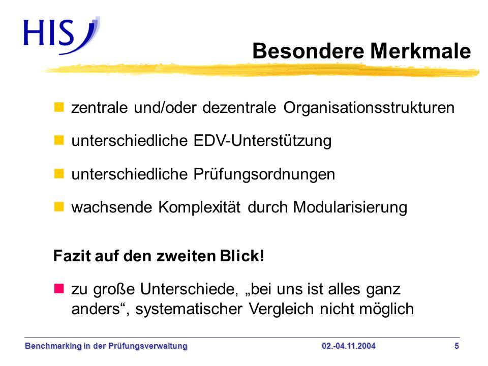 Benchmarking in der Prüfungsverwaltung02.-04.11.2004 5 Besondere Merkmale nzentrale und/oder dezentrale Organisationsstrukturen nunterschiedliche EDV-