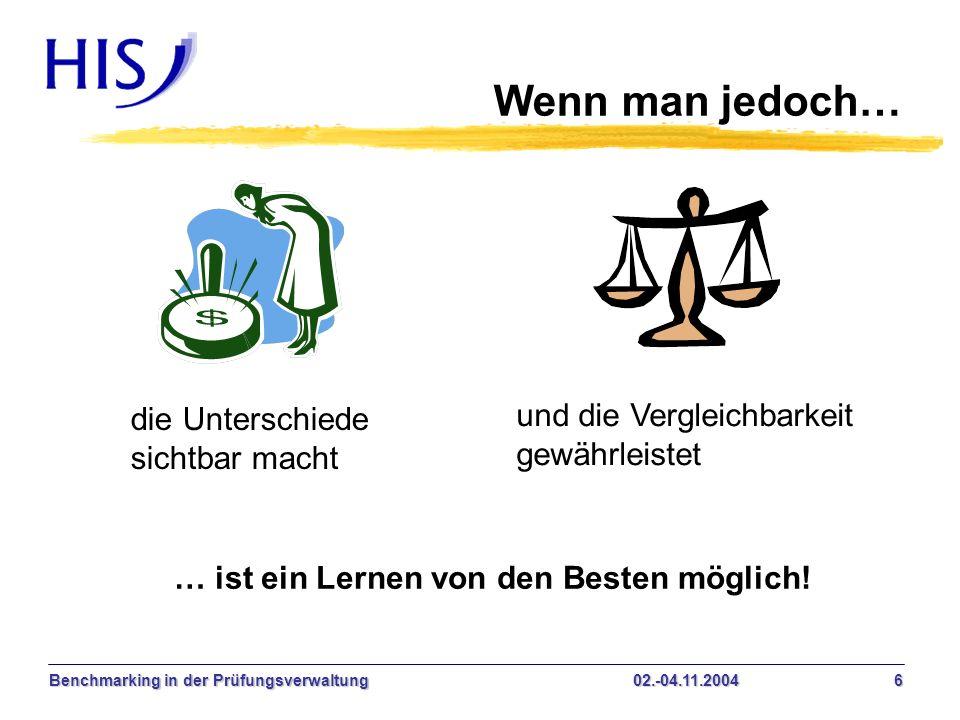 Benchmarking in der Prüfungsverwaltung02.-04.11.2004 6 Wenn man jedoch… die Unterschiede sichtbar macht und die Vergleichbarkeit gewährleistet … ist e