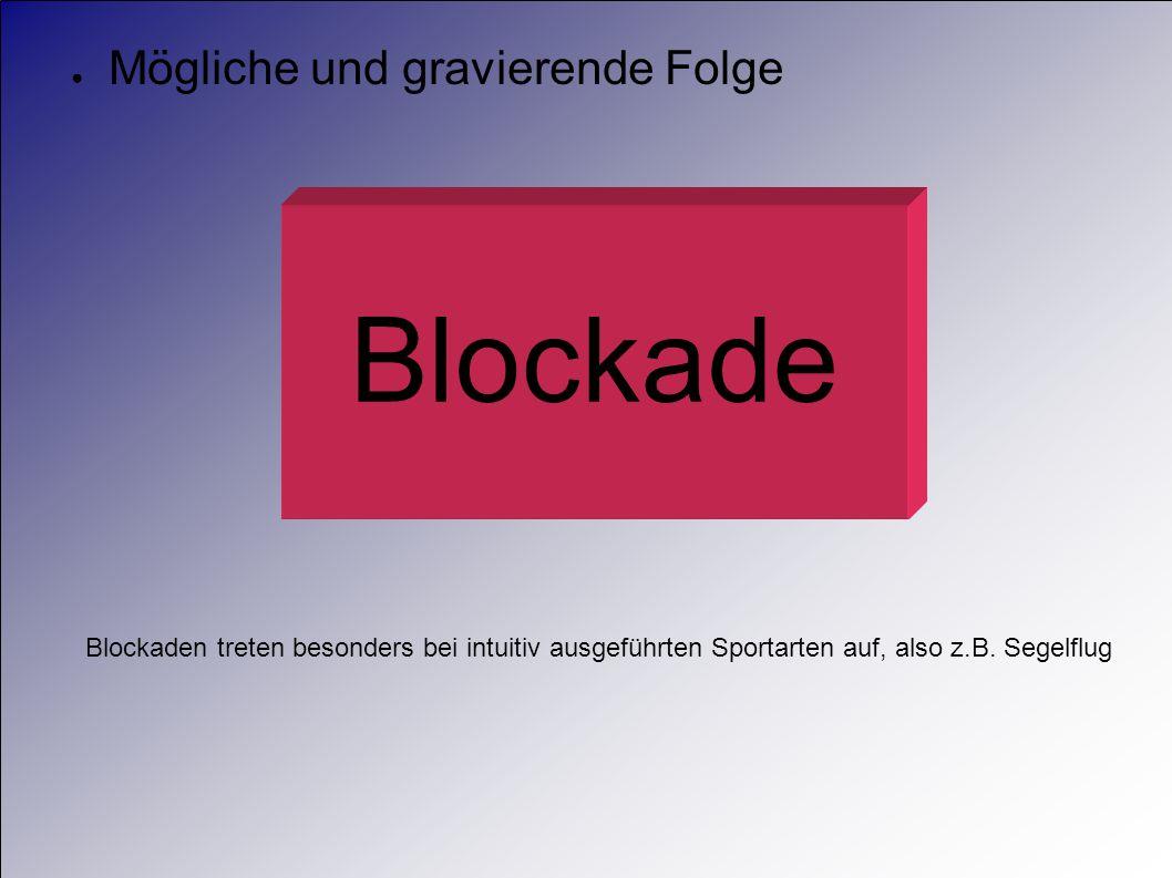 Mögliche und gravierende Folge Blockade Blockaden treten besonders bei intuitiv ausgeführten Sportarten auf, also z.B. Segelflug