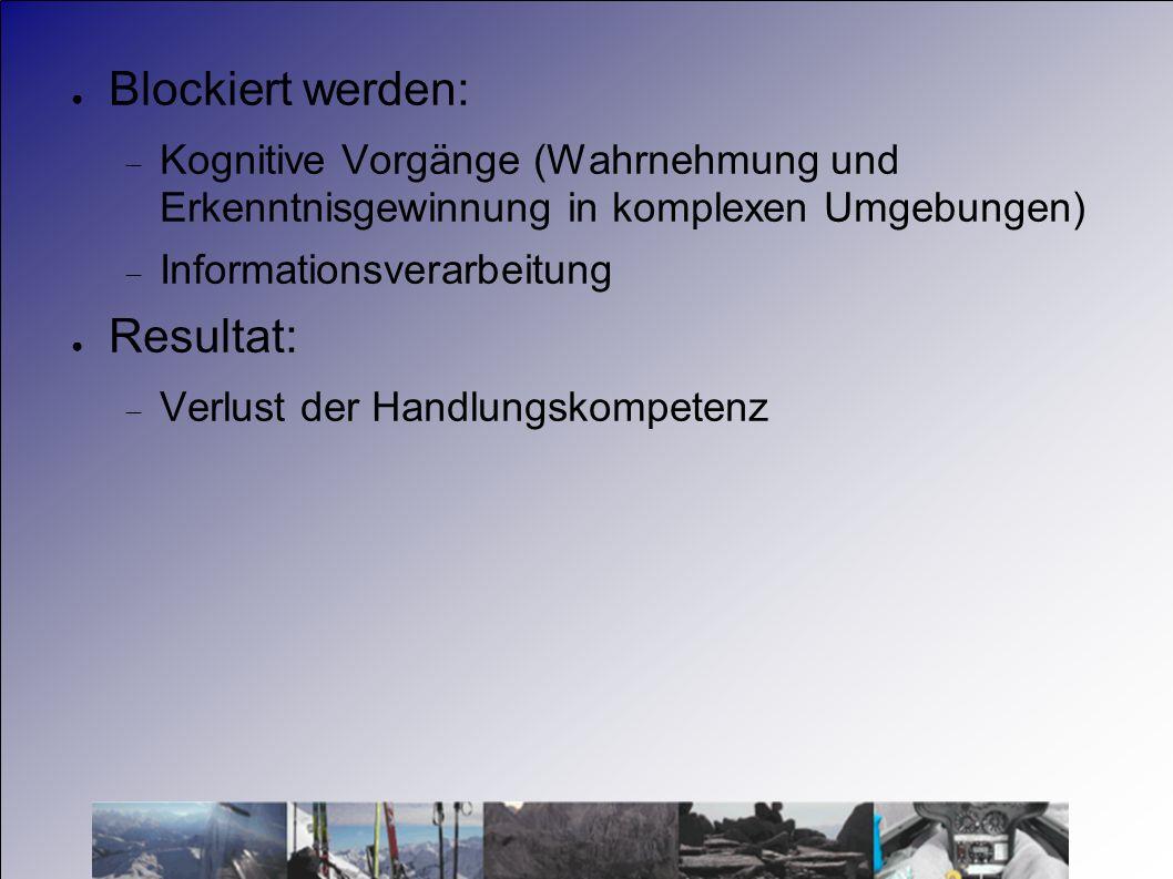 Blockiert werden: Kognitive Vorgänge (Wahrnehmung und Erkenntnisgewinnung in komplexen Umgebungen) Informationsverarbeitung Resultat: Verlust der Hand