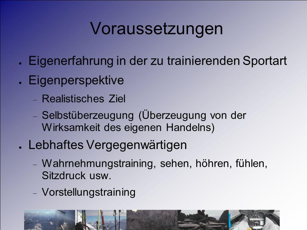 Voraussetzungen Eigenerfahrung in der zu trainierenden Sportart Eigenperspektive Realistisches Ziel Selbstüberzeugung (Überzeugung von der Wirksamkeit