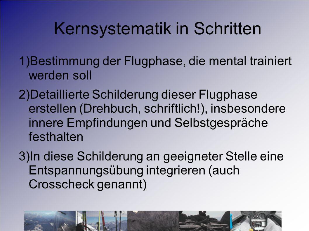 Kernsystematik in Schritten 1)Bestimmung der Flugphase, die mental trainiert werden soll 2)Detaillierte Schilderung dieser Flugphase erstellen (Drehbu