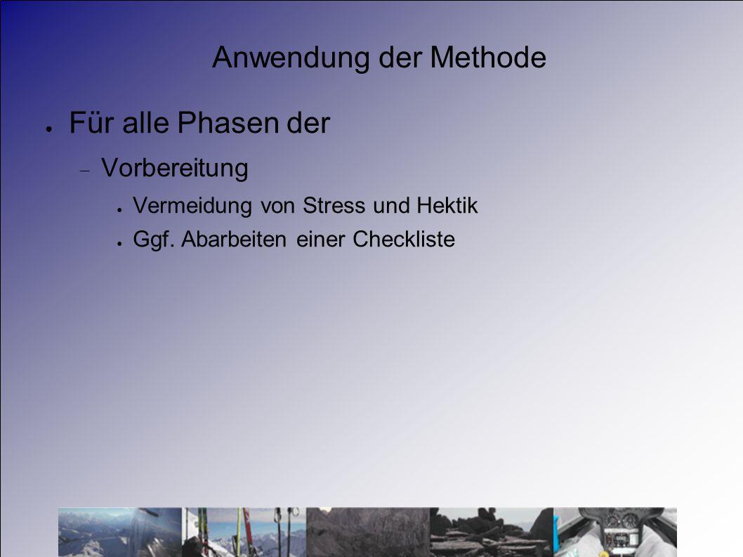 Anwendung der Methode Für alle Phasen der Vorbereitung Vermeidung von Stress und Hektik Ggf. Abarbeiten einer Checkliste