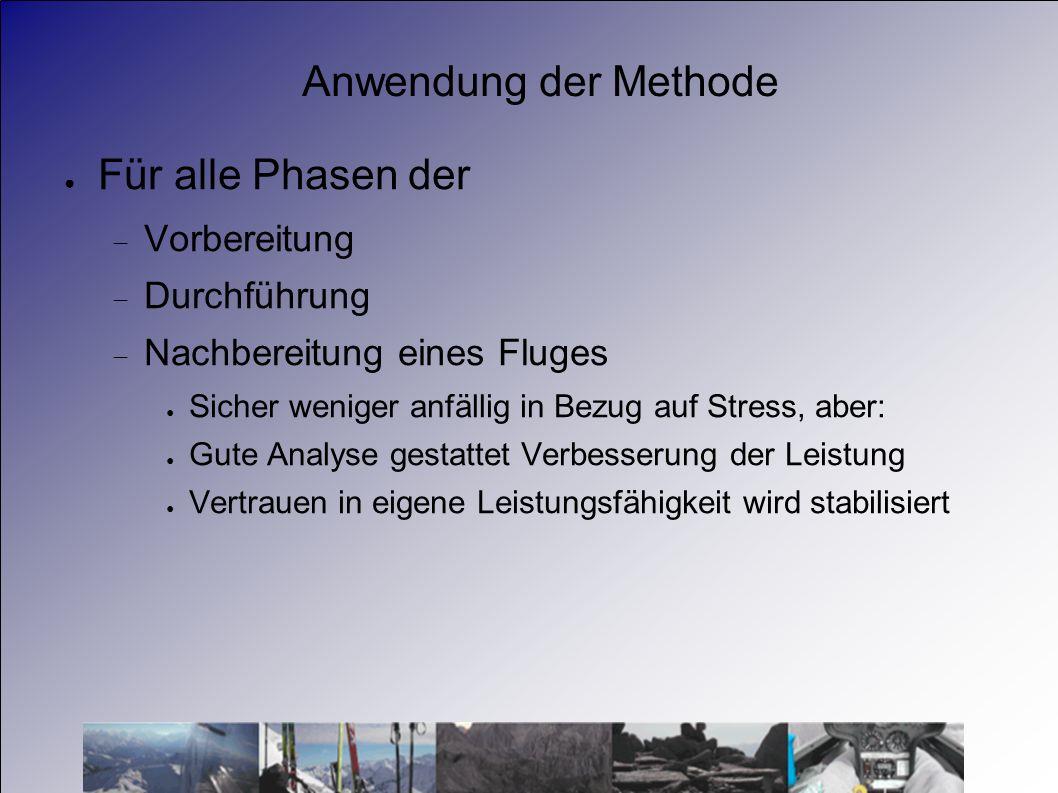 Anwendung der Methode Für alle Phasen der Vorbereitung Durchführung Nachbereitung eines Fluges Sicher weniger anfällig in Bezug auf Stress, aber: Gute