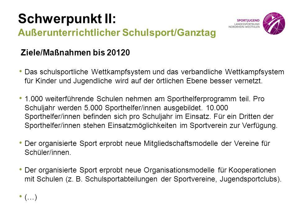 Schwerpunkt II: Außerunterrichtlicher Schulsport/Ganztag Ziele/Maßnahmen bis 20120 Das schulsportliche Wettkampfsystem und das verbandliche Wettkampfsystem für Kinder und Jugendliche wird auf der örtlichen Ebene besser vernetzt.