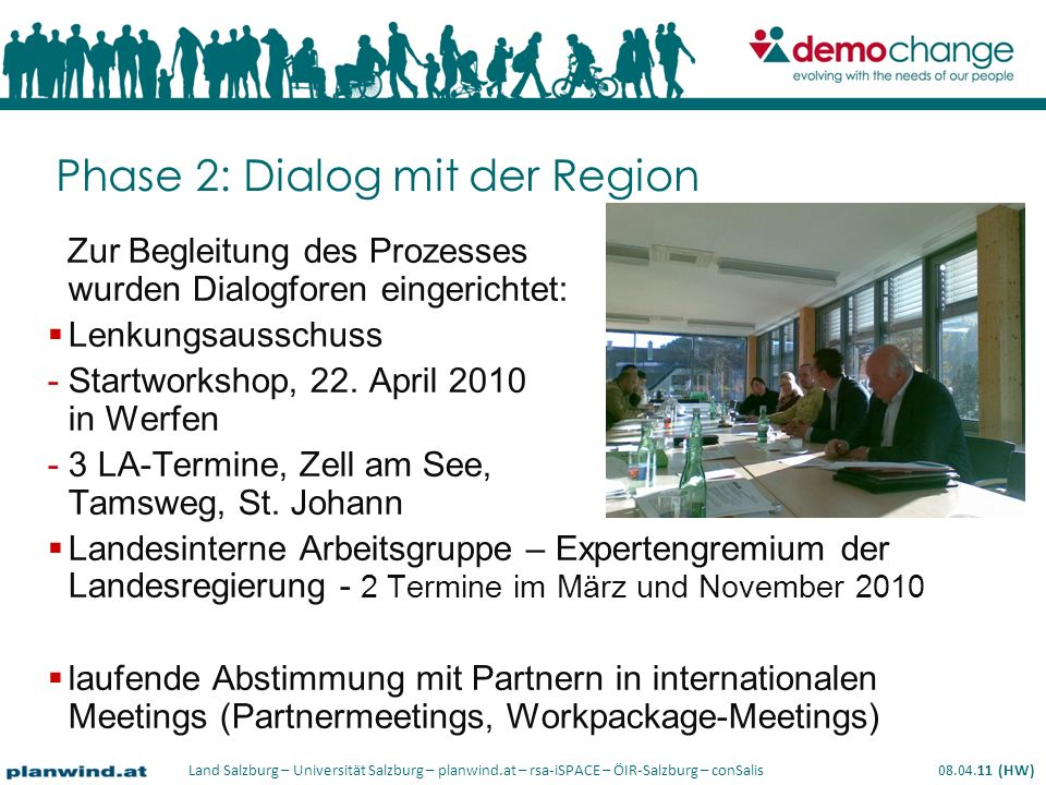 Land Salzburg – Universität Salzburg – planwind.at – rsa-iSPACE – ÖIR-Salzburg – conSalis 08.04.11 (HW) Phase 2: Dialog mit der Region Zur Begleitung des Prozesses wurden Dialogforen eingerichtet: Lenkungsausschuss -Startworkshop, 22.