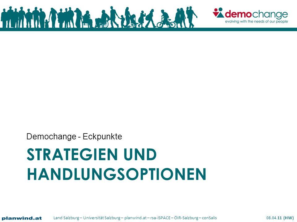 Land Salzburg – Universität Salzburg – planwind.at – rsa-iSPACE – ÖIR-Salzburg – conSalis 08.04.11 (HW) STRATEGIEN UND HANDLUNGSOPTIONEN Demochange - Eckpunkte